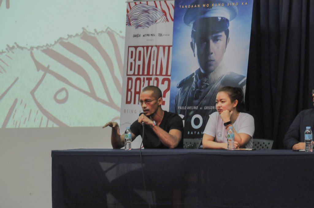 Best supporting Actor Nominee (2013) Arthur Acuña answers students' questions at the Goyo: Ang Batang Heneral Forum