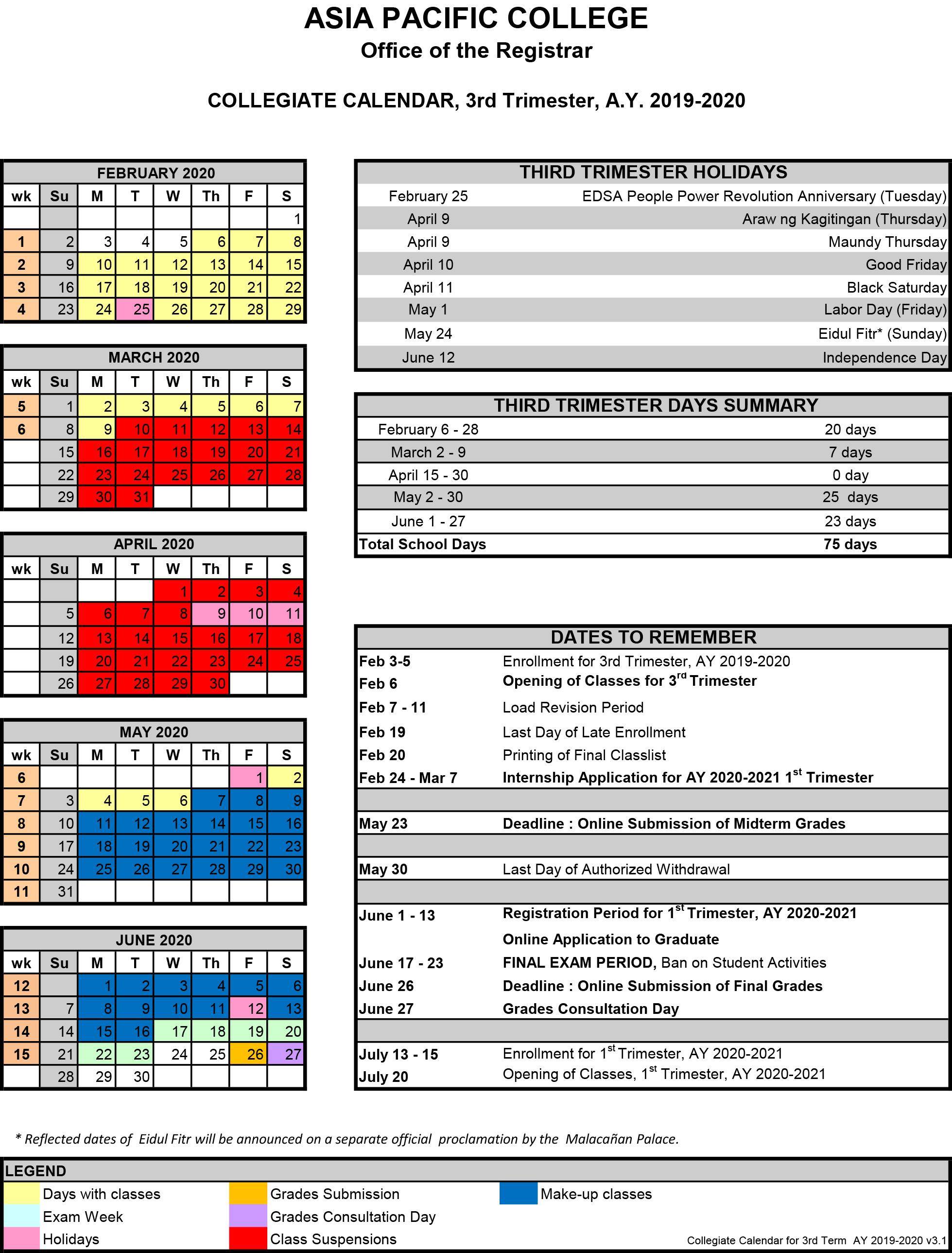 Term 3 Collegiate Calendar_as of 04-20-2020
